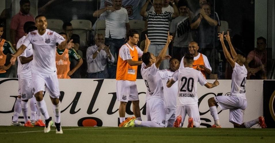 Jogadores do Santos comemoram gol contra o Palmeiras na Vila