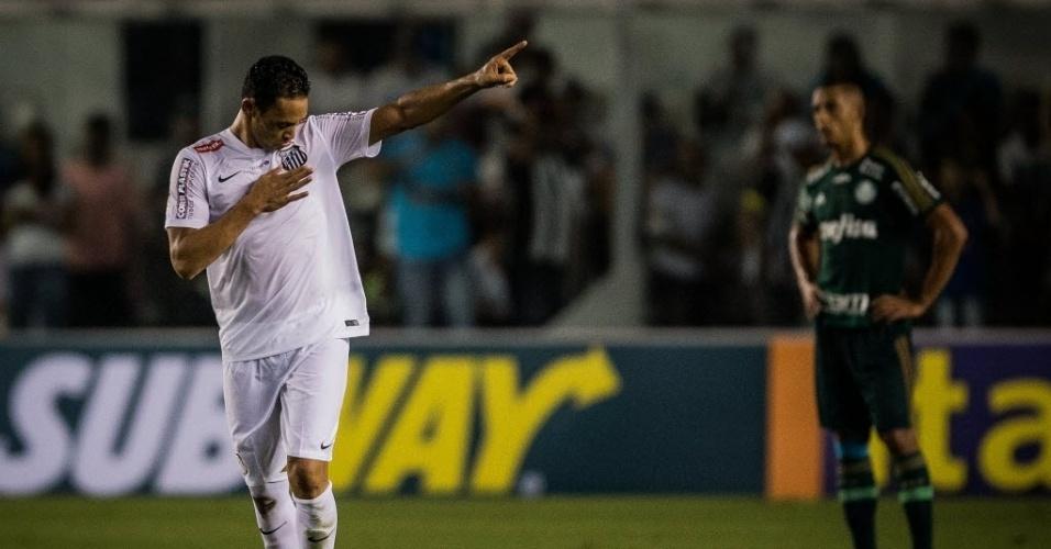 Ricardo Oliveira comemora gol do Santos contra o Palmeiras