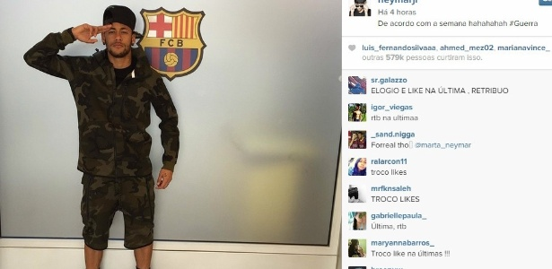 Com roupa militar e hashtag #Guerra, Neymar mostra importância da semana no Barça