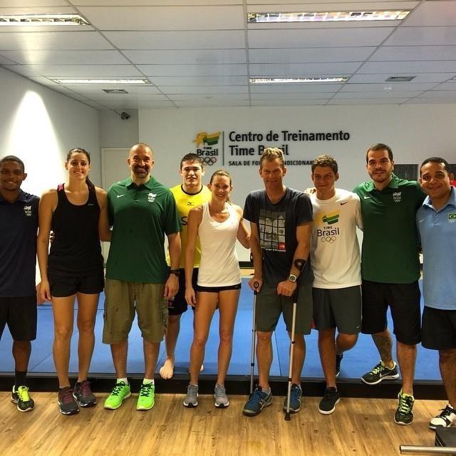 Duda Amorim (handebol), Vitor Pennalber (judô), Fabiana Murer (atletismo), Robert Scheidt (vela) e Marcus Vinicius (tiro com arco) no Centro de Treinamento do COB, no Rio