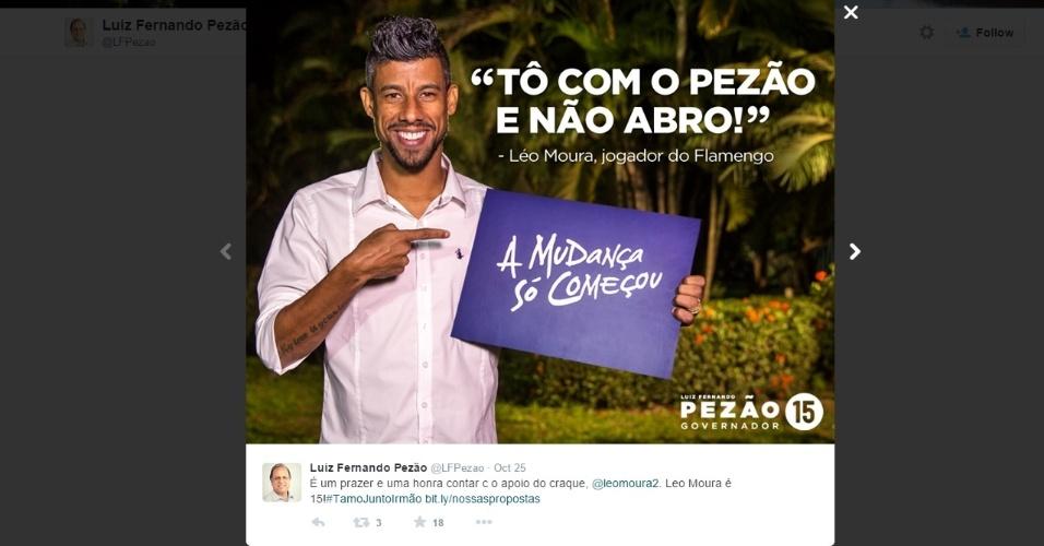 Léo Moura faz campanha para Pezão no twitter