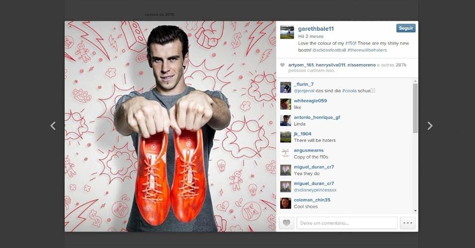 Bale exibe, no começo de 2015, chuteiras novas que vestirá até o fim da temporada