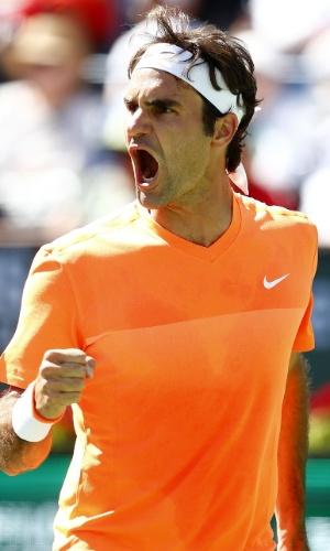 Roger Federer vibra com vitória sobre Milos Raonic