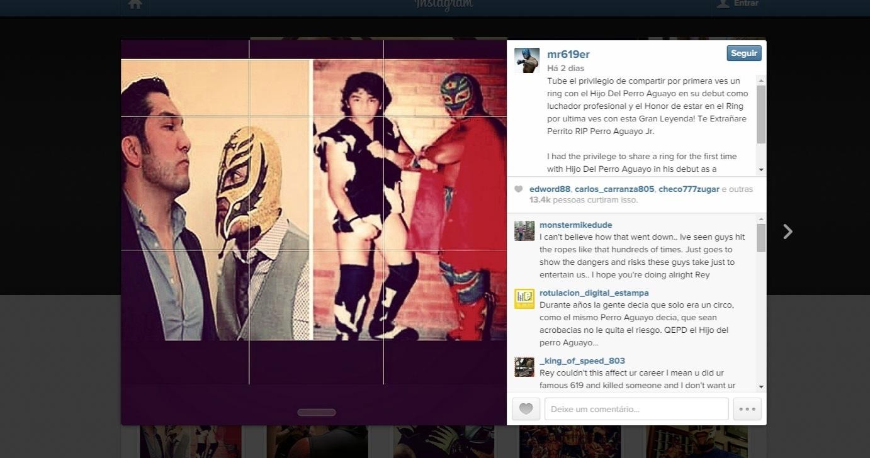 Reprodução de postagem de Rey Mysterio em homenagem a Perro Aguayo, lutador morto no México