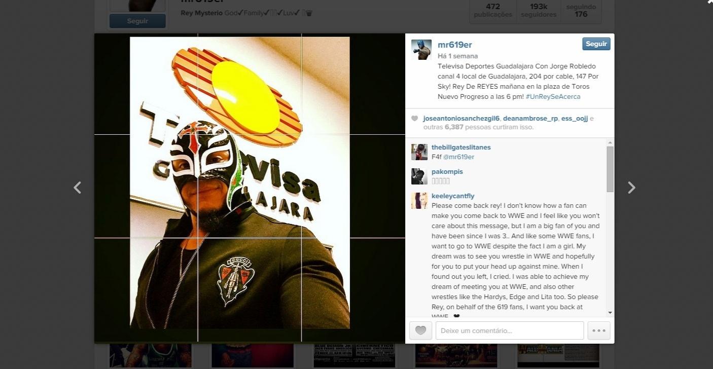 Reprodução do Instagram de Rey Mysterio, lutador que deu o golpe fatal em Pedro Aguayo, lutador morto no México durante um combate