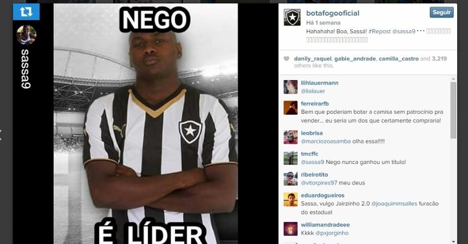 Botafogo brincou com o sucesso dos memes e sobrou para o atacante Sassá