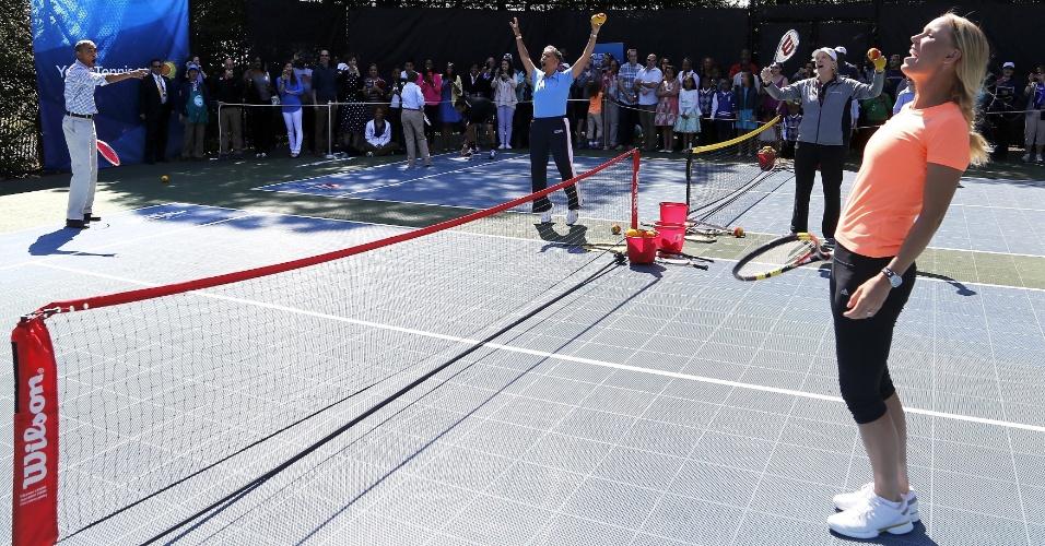 A zoeira marcou presença na partida entre Caroline Wozniacki e Barack Obama