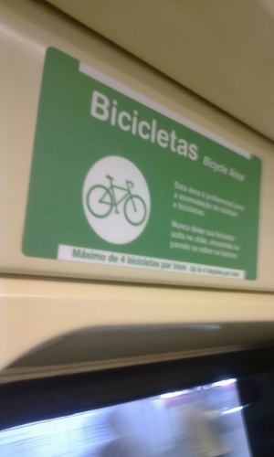 Metrô disponibiliza área para ciclistas que quiserem transportar suas bicicletas