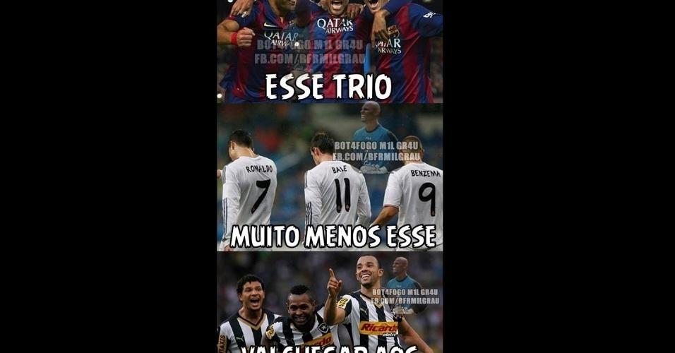 Torcida do Botafogo se empolga e compara trio de ataque aos melhores do mundo