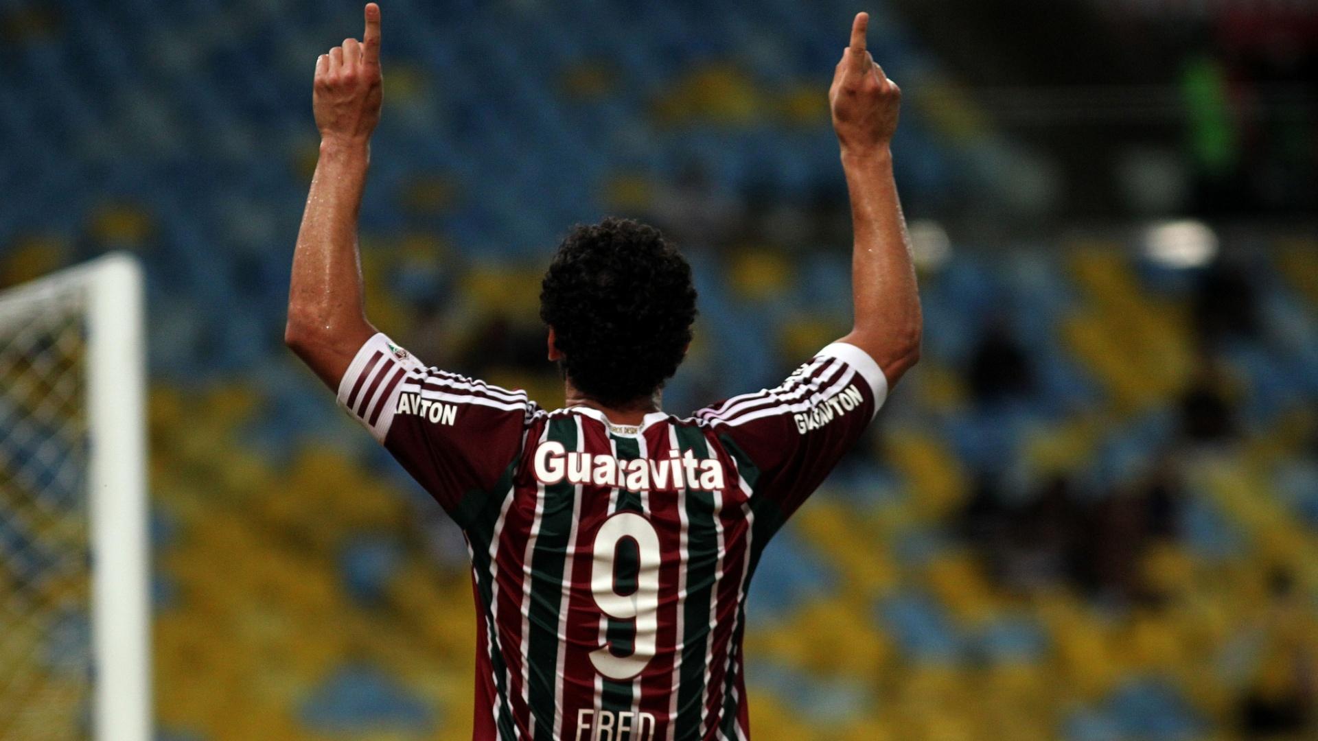 Fred celebra gol marcado no clássico entre Fluminense e Botafogo, válido pela semifinal do Campeonato Carioca