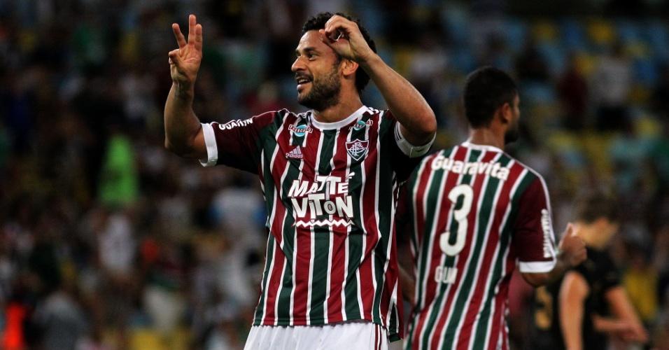 Fred comemora o gol do Fluminense diante do Botafogo, o 300 de sua carreira