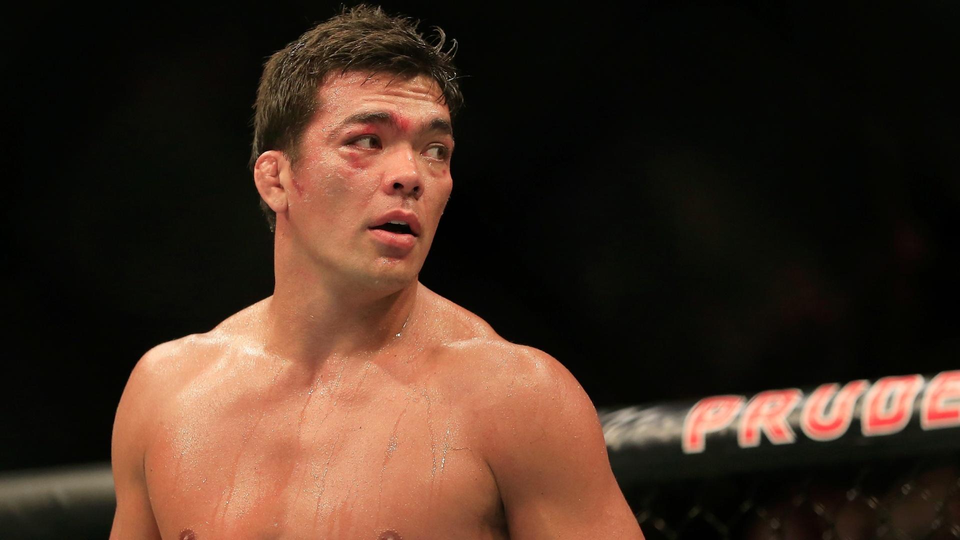 Detalhe de Lyoto Machida, que foi finalizado por Luke Rockhold no UFC Fight Night em Nova Jersey