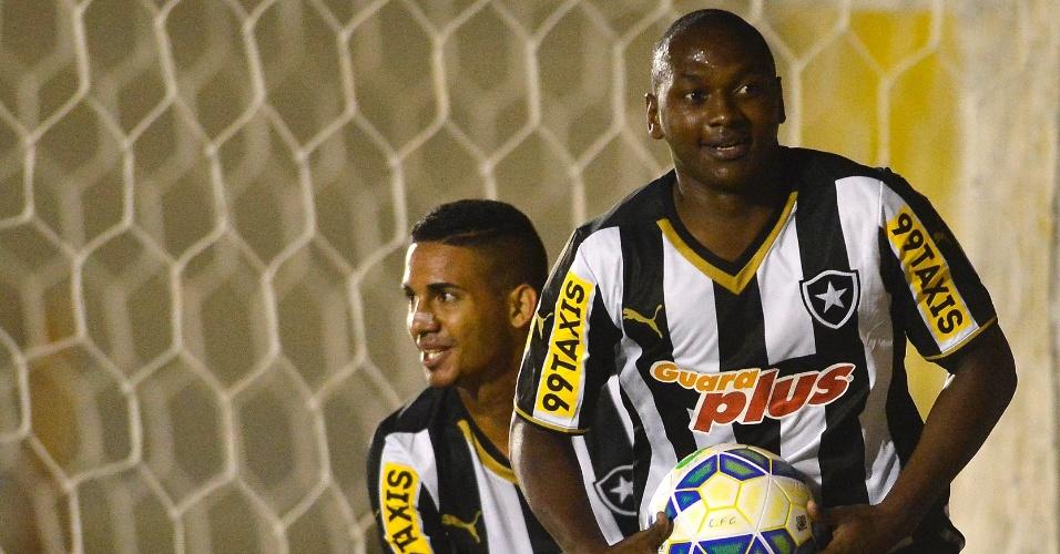 Sassá comemora gol marcado pelo Botafogo contra o Capivariano em partida válida pela Copa do Brasil