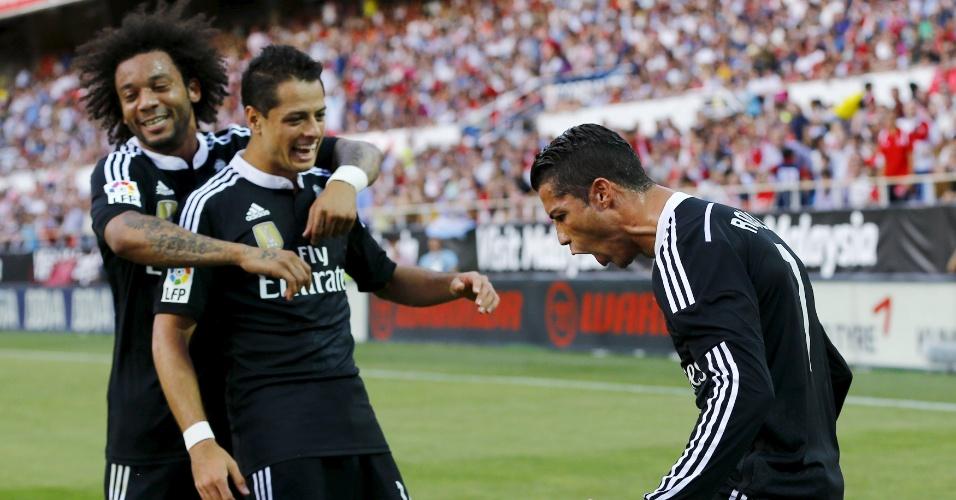 Cristiano Ronaldo vibra com o gol marcado pelo Real Madrid contra o Sevilla