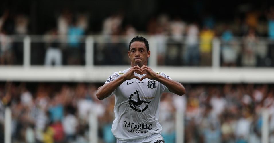 Ricardo Oliveira comemora segundo gol do Santos na final do Paulista