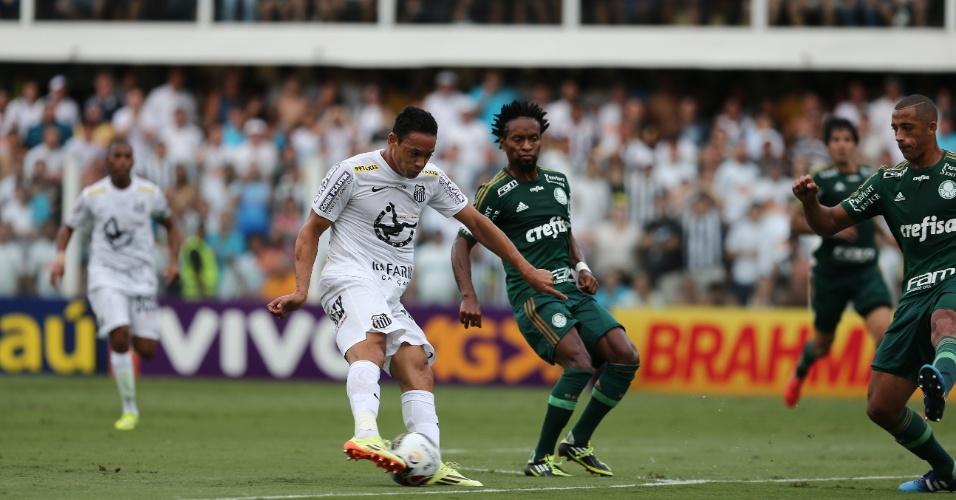 Ricardo Oliveira e Zé Roberto disputam bola durante final do Paulista entre Santos e Palmeiras