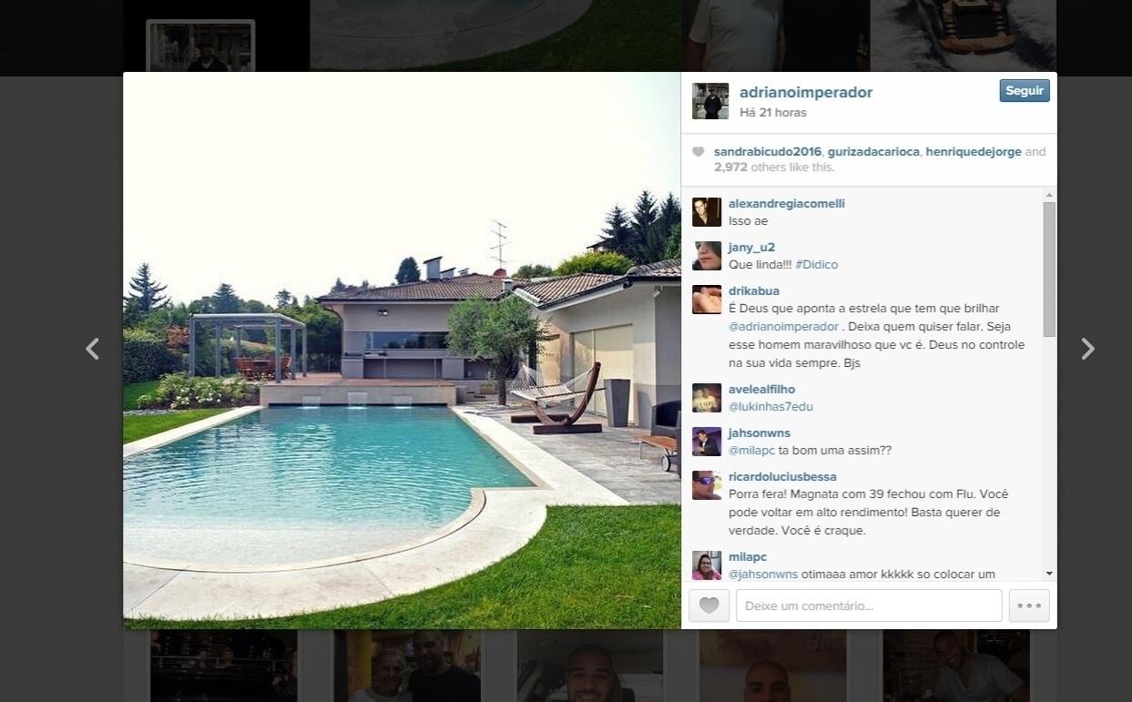 Fotos da mansão fez com que Adriano recebesse apoio de seus seguidores para voltar a jogar