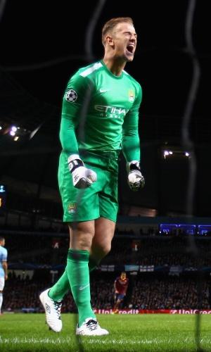 Joe Hart lamenta ao não conseguir defender pênalti de Messi na partida entre Manchester City e Barcelona