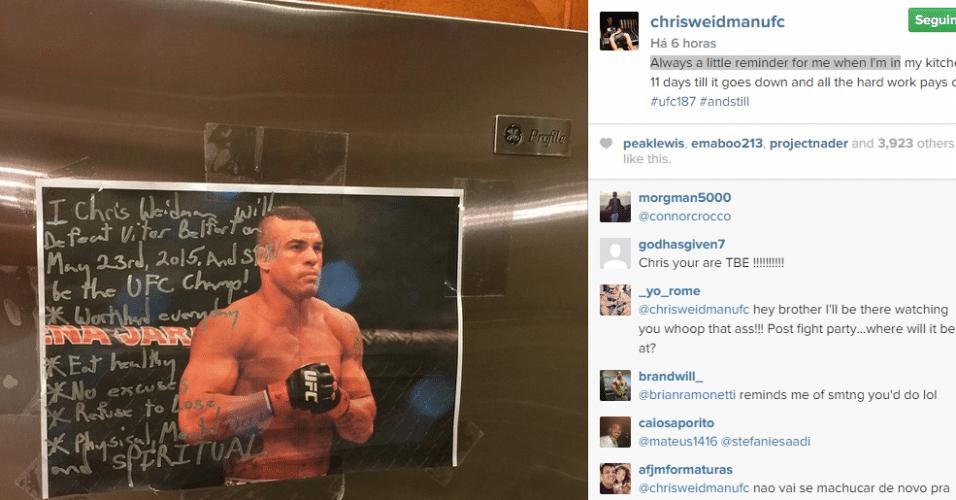 Chris Weidman escreve mensagem motivacional sobre foto de Vitor Belfort
