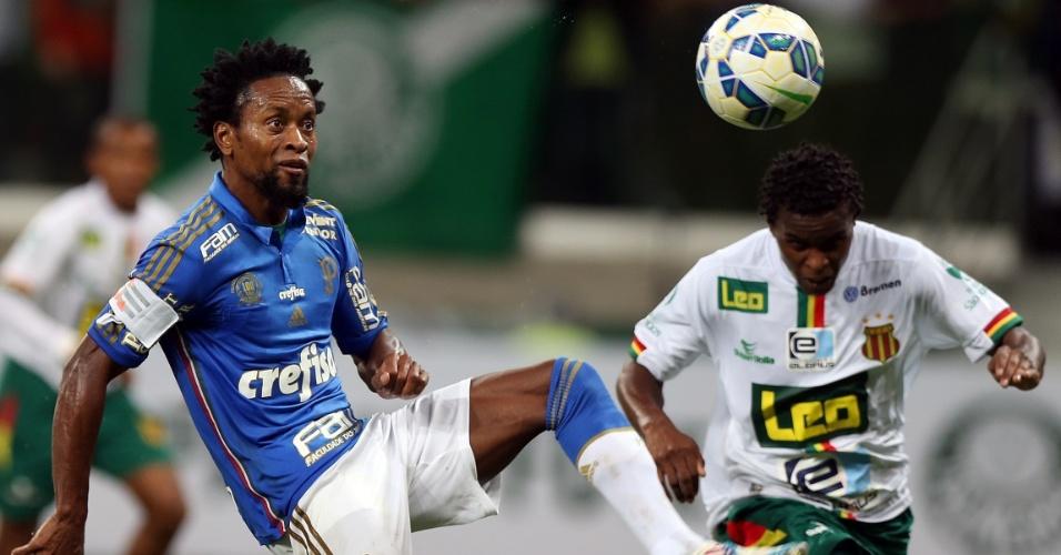 Zé Roberto encara a marcação para dominar bola para o Palmeiras contra o Sampaio Correa, na Copa do Brasil