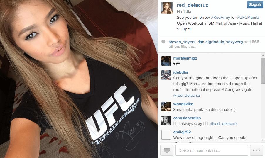 A filipina Red Dela Cruz é a nova ring girl do UFC. Com passagem por outros eventos, ela foi eleita por votação popular para estrear no card de Manila, com Faber x Edgar