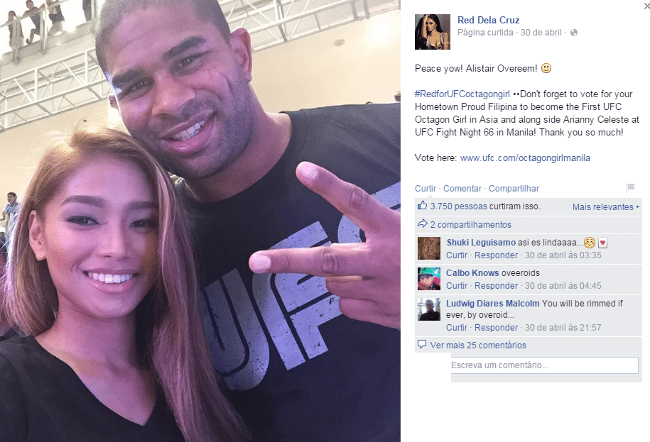 Red Dela Cruz posa com Alistair Overeem em evento nas Filipinas