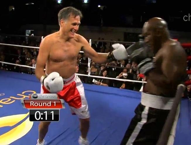 Mitt Romneu luta contra Evander Holyfield