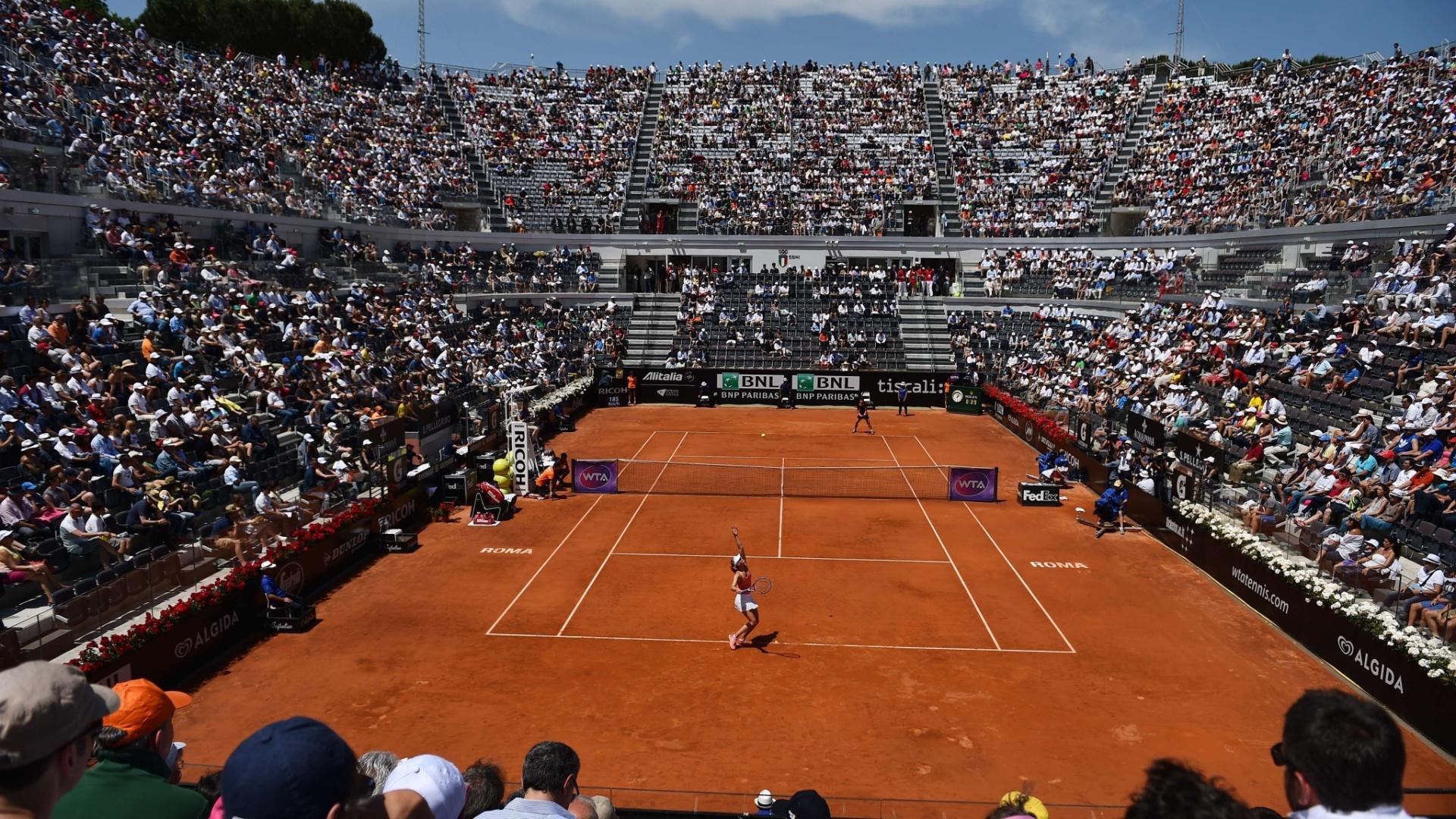Torcida encheu as arquibancadas do Foro Itálico para acompanhar a decisão feminina do torneio