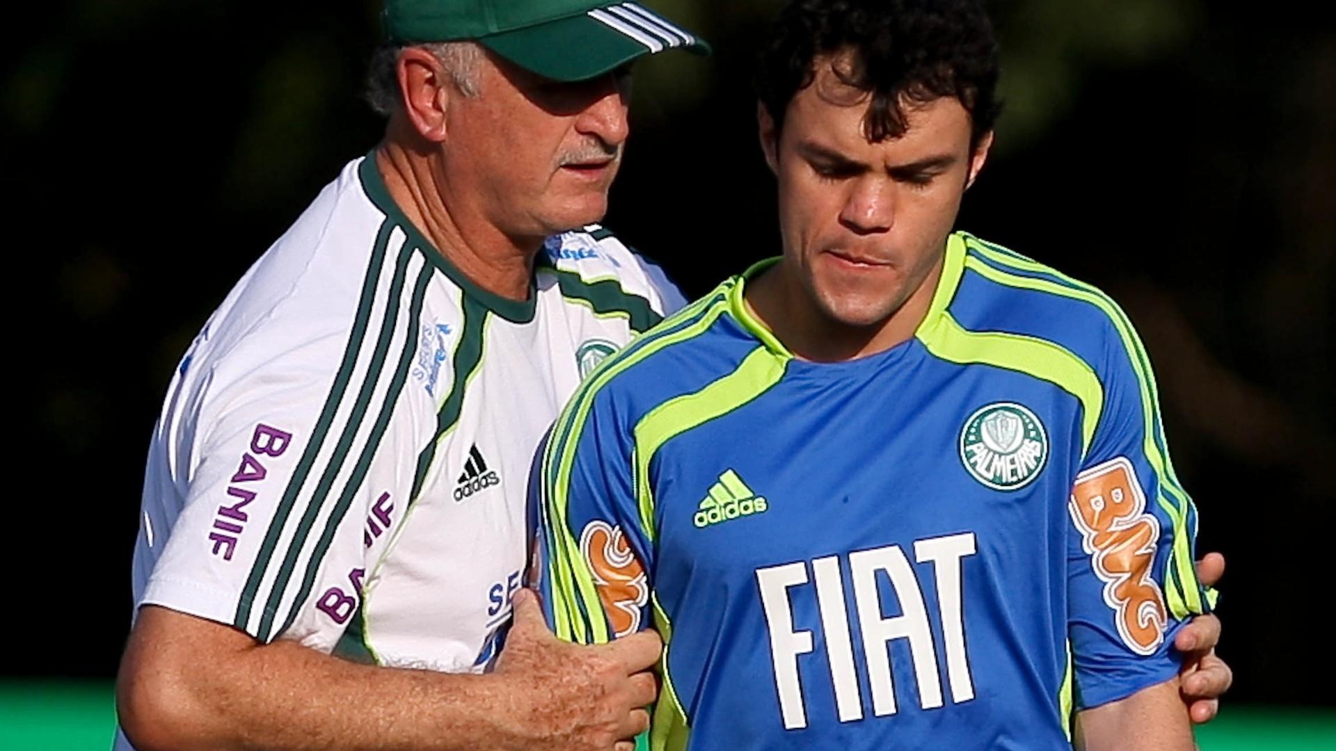 Felipão e Kléber durante treino do Palmeiras