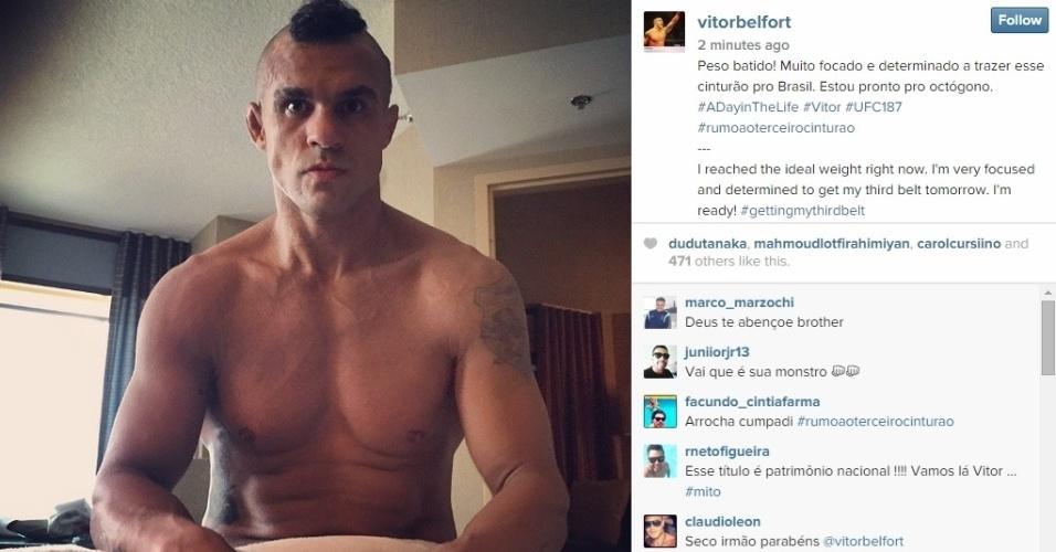 Pouco antes da pesagem oficial, Belfort compartilha imagem e afirma já estar no peso estabelecido para o confronto (84 kg)