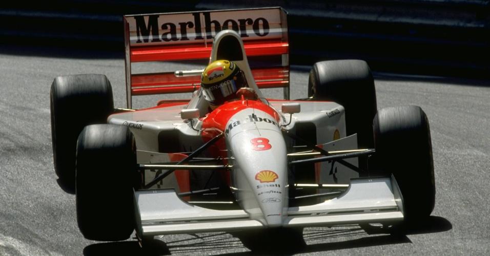 Ayrton Senna pilota McLaren em sua última vitória em Mônaco, em 1993