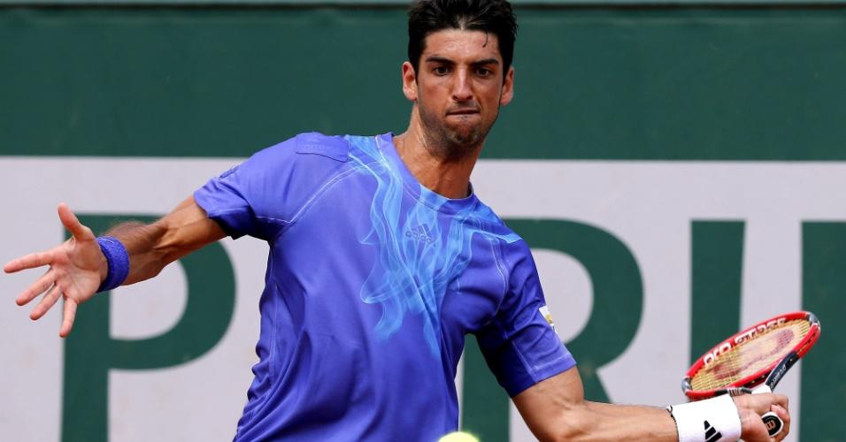Thomaz Bellucci em sua estreia em Roland Garros