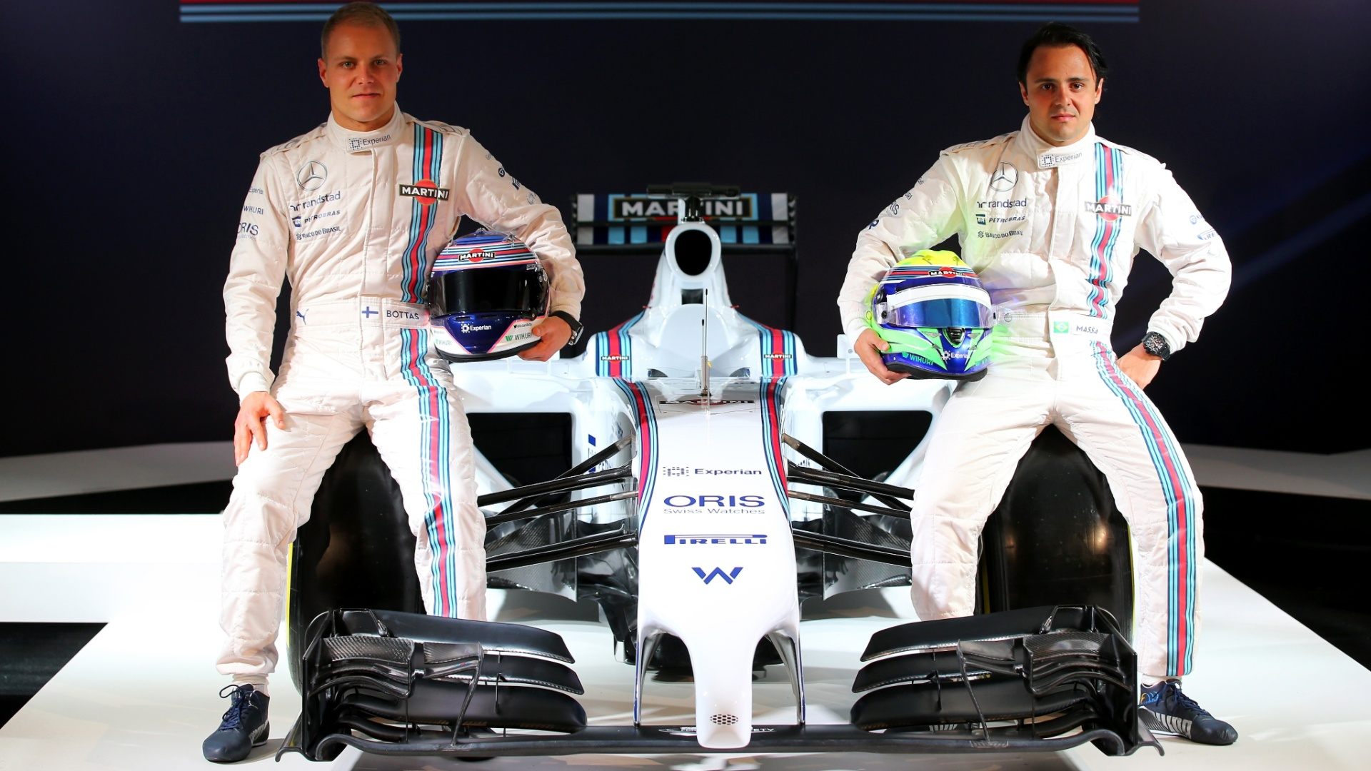 Bottas e Felipe Massa apresentam a Williams de 2014, no primeiro ano em que correram juntos