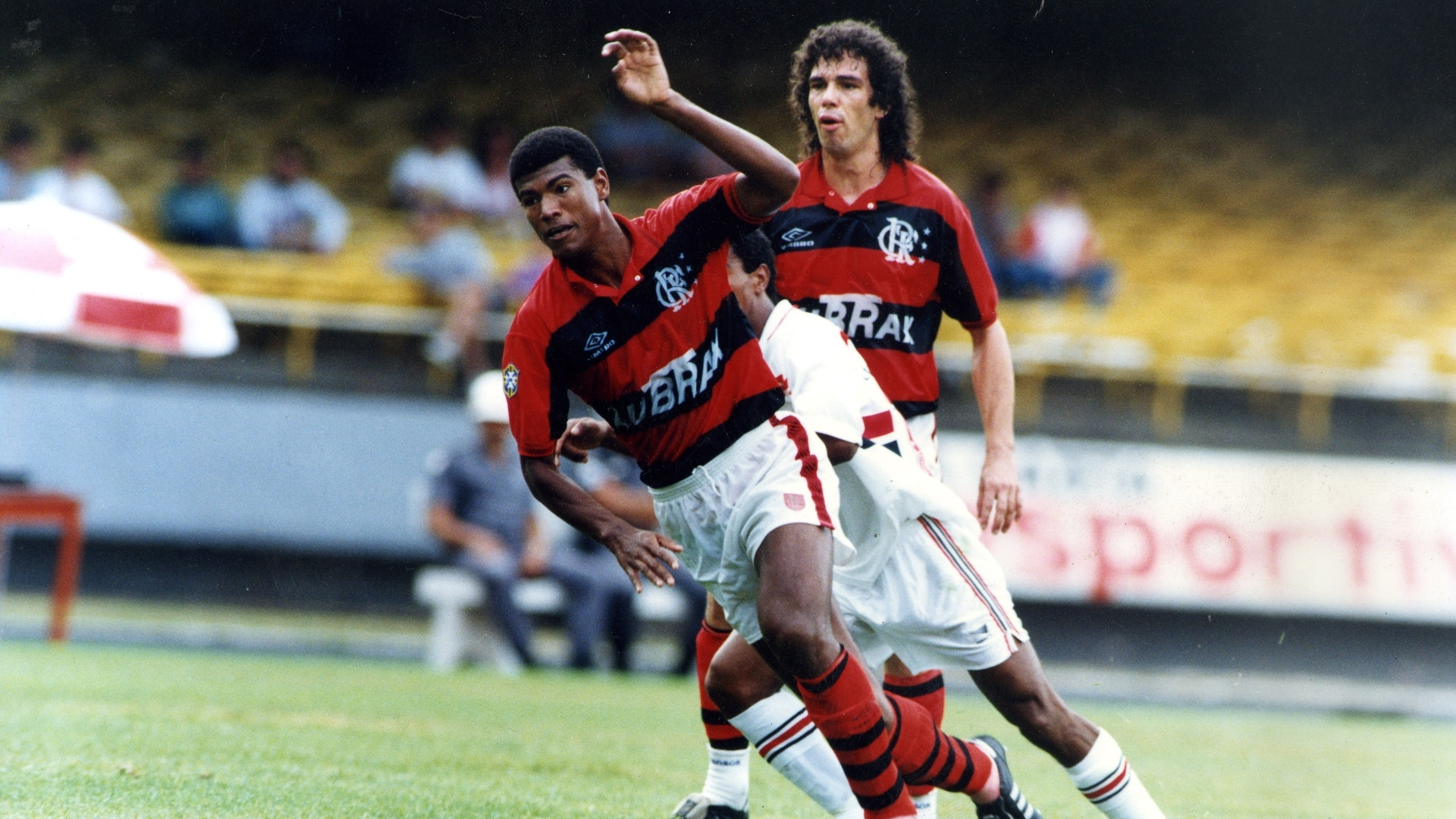 Casagrande em 1993, quando defendeu o Flamengo juntamente com o zagueiro Júnior Baiano