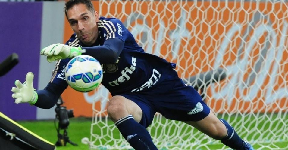Fernando Prass, goleiro do Palmeiras, faz defesa durante partida contra o Internacional, nesta quinta-feira (4), válida pelo Campeonato Brasileiro