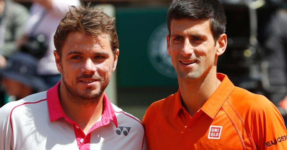 Stan Wawrinka e Novak Djokovic na final de Roland Garros
