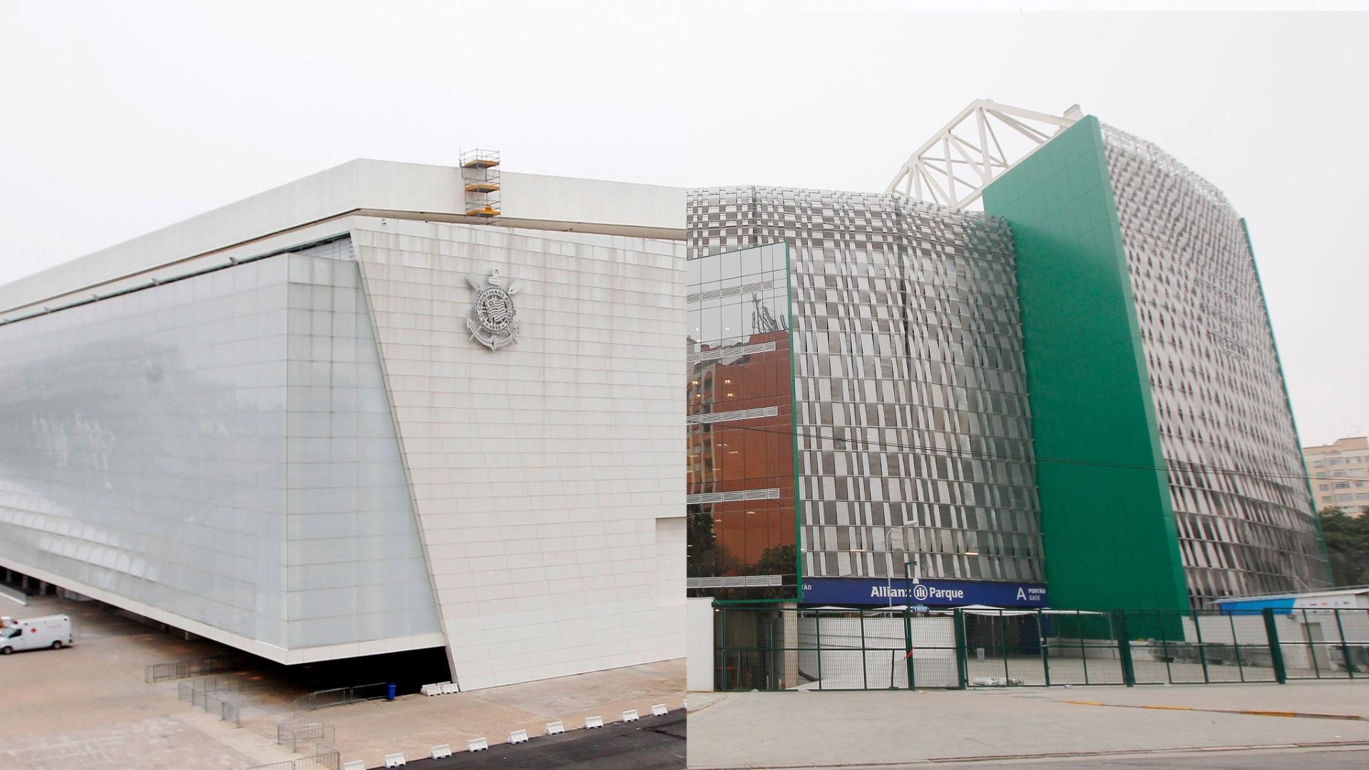 Montagem com os estádios Arena Corinthians e o Allianz Parque