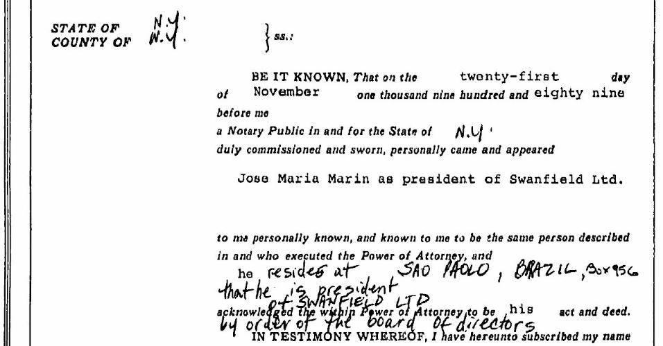 11.jun.2015 - Documento mostra que José Maria Marin era presidente da Swanfield Ltd., empresa sediada nas Ilhas Virgens Britânicas, que comprou em 1989 um apartamento na Trump Tower. Brasileiro nunca declarou imóvel ao Banco Central.
