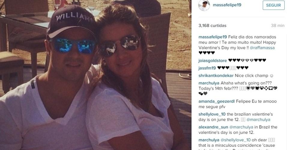 Felipe Massa se declarou para a mulher Rafaela em inglês também e escreveu Happy Valentine's Day my love