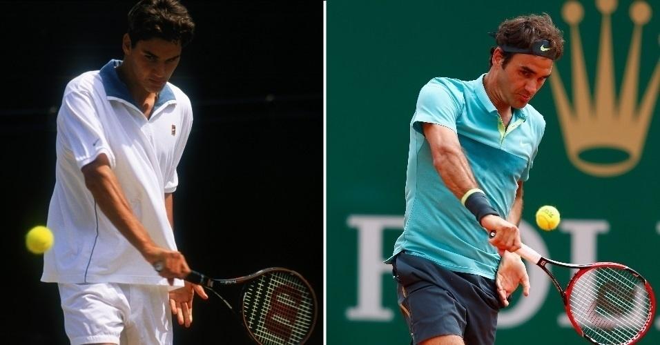 A esquerda Federer batendo um backhand em 1998, primeiro ano como profissional, e ao lado ele no Master de Monte Carlo deste ano
