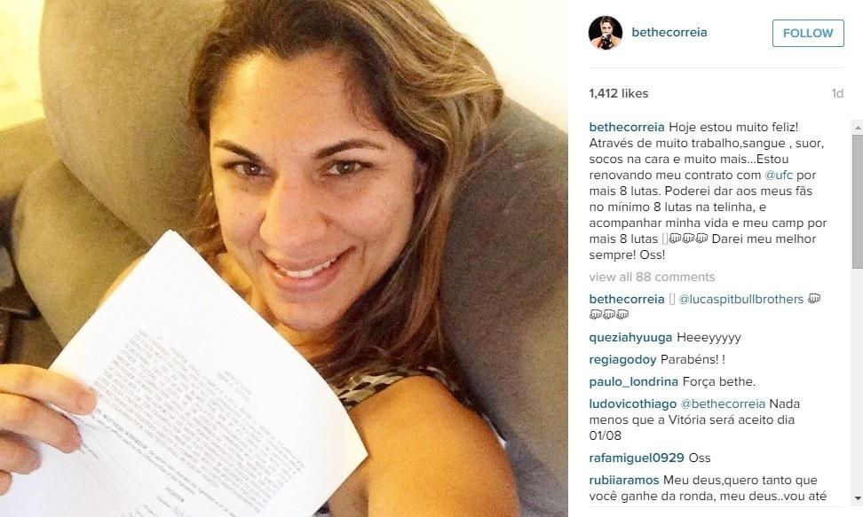 Bethe Correia comemora após renovar contrato com o UFC