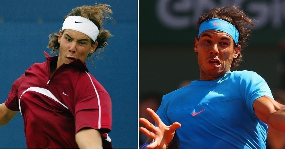 Rafael Nadal tinha três anos de circuito na foto da esquerda tirada em 2003. Ao lado como o tenista está hoje