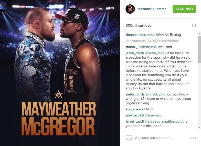 Conor McGregor postou montagem de um possível cartaz de divulgação de sua luta contra Mayweather