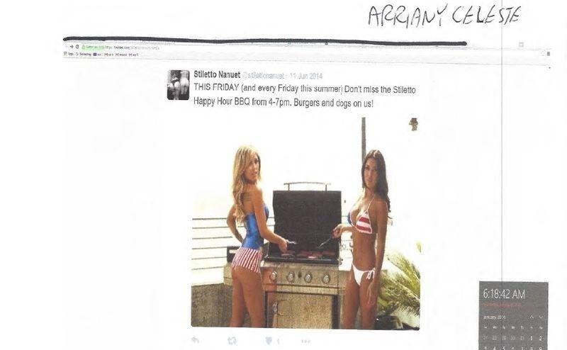Imagem de Arianny Celeste e Brittney Palmer foi usada em promoção de boate de strip