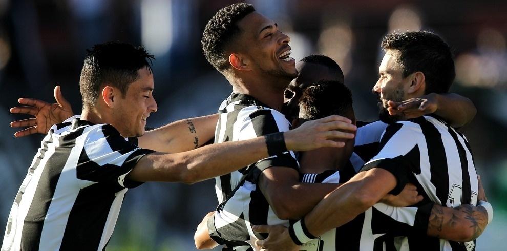 Jogadores do Botafogo comemoram gol marcado contra o Santa Cruz
