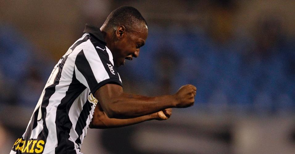 Sassá comemora gol da vitória sobre o Paraná, no Engenhão