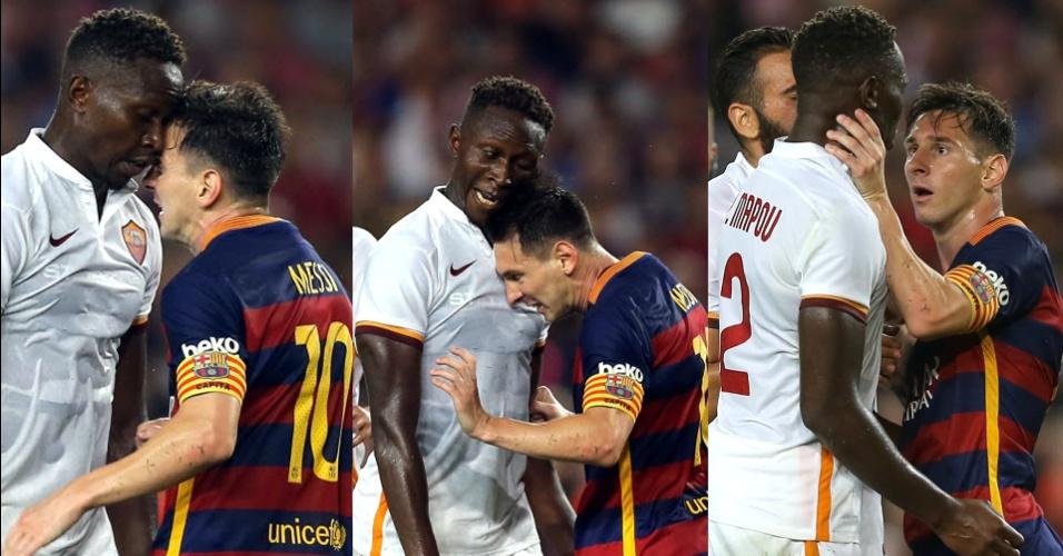 Messi, do Barcelona, e Mapou Yanga-Mbiwa, da Roma, trocam cabeçadas durante amistoso no Camp Nou