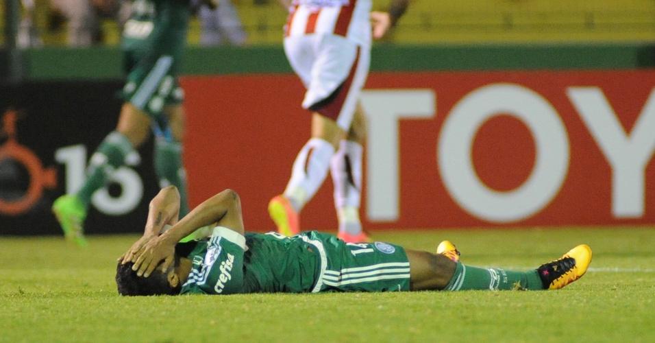Erick lamenta chance perdida para o Palmeiras contra o River Plate-URU, na Libertadores