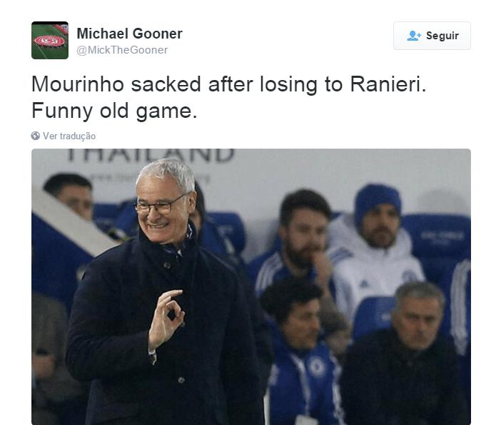 Ranieri foi o técnico que perdeu o posto para Mourinho voltar ao posto. Agora no Leicester, lidera o Inglês e venceu o Chelsea por 2 a 1, último jogo do português no comando da equipe