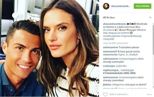 Cristiano Ronaldo posa com Alessandra Ambrosio após campanha publicitária
